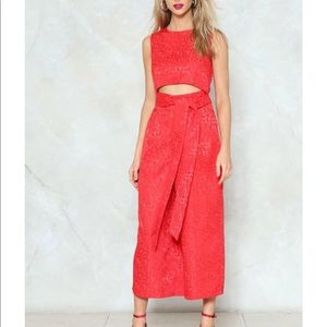 Cut-Out All Night Brocade Jumpsuit